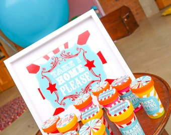 Carnival Party Favors - Circus Party Favors - Carnival Favors - Instant Download and Edit File at home with Adobe Reader