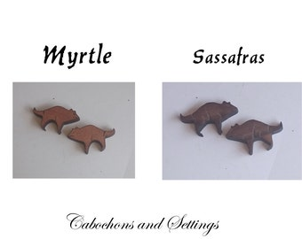 Tasmanian Devil Cabochons Two Native Pristine Timbers Choose Laser Cut For Earrings etc  Number Choice  Made in AUSTRALIA