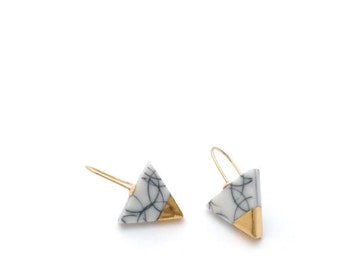 Marble Triangle earrings, Porcelain jewelry, White minimalist earring, geometric ceramic earrings, ceramic jewelry, summer 2018
