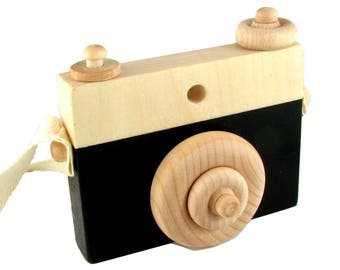 Black Wooden Camera Toy with push button - Black Natural wood toy camera with rotatable lens