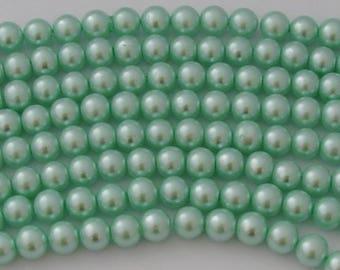 10 pearls diameter 14mm light green Pearl glass - Ref: PVN 524