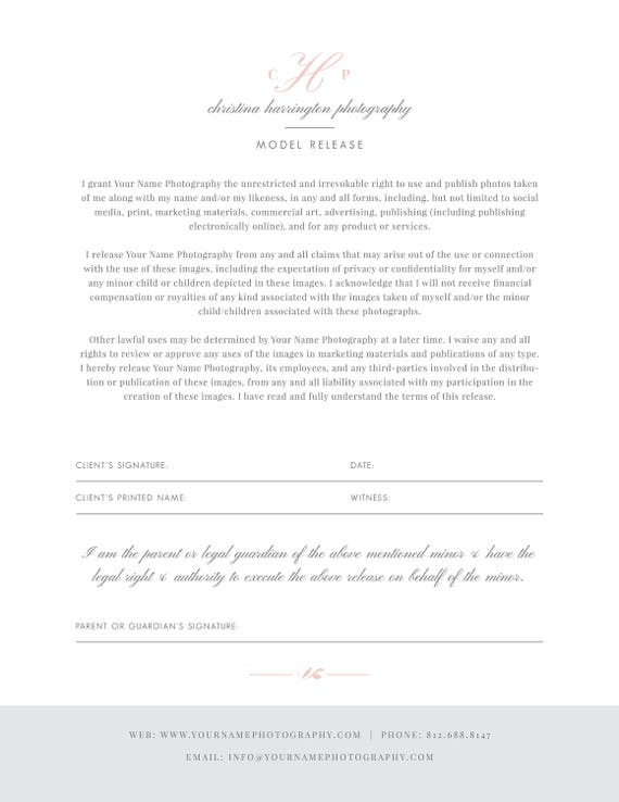 Instant Download Photography Model Release Form Template