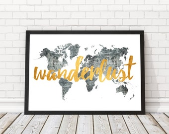 World map wall art black and white wall decor world map wanderlust map world map faux gold black and white map wanderlust world map gumiabroncs Image collections