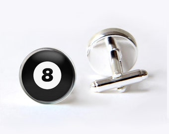 Mens Cufflinks, Eight Ball Cufflinks, Billiards Cufflinks, Pool Cuff Links