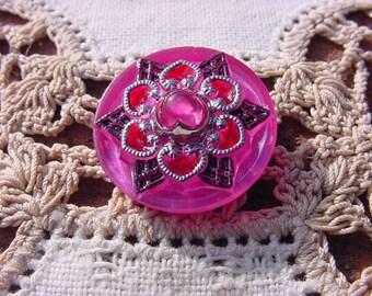 Cranberry Pink Fancy Dew Drop Czech Glass Button