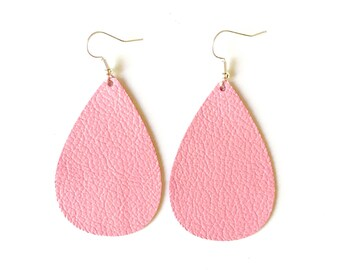 Pink Leather Earrings