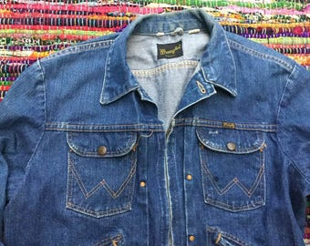 Vintage Selvedge Wrangler Pleated Denim Jacket Zipper Front