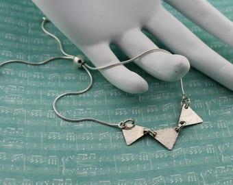Sterling Silver Bracelet; Hammered Triangle Trio Focal Piece on a Sterling Silver Snake Chain, Adjustable Bracelet