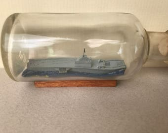Vintage Handcrafted Model USS Yorktown Aircraft Carrier in a Bottle.
