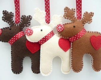 Felt Christmas Tree Decorations, Christmas Decor,Reindeer,Snowman,Xmas stocking,Christmas eve,Christmas Felt Ornaments