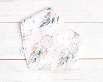 Boho Baby Bib - Dreamcatcher Bib - Pastels - Organic Bamboo & Cotton - Baby Girl - Eco Friendly Gift - Baby Girl Boho Fashion - Sustainable
