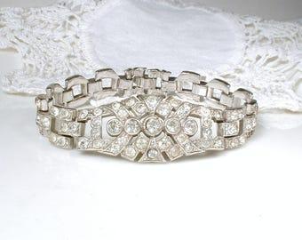 TRIFARI KTF Art Deco Bracelet, Pave Rhinestone Wide Link Bridal Bracelet,Vintage Wedding Silver Paste 1920s Gatsby Flapper Jewelry Statement