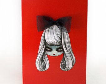 Ribbon girl - Note Card Single Blank Notecard