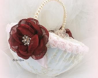 Flower Girl Basket Burgundy Ivory Pink Round Pearl Handle Lace Basket,Custom Order