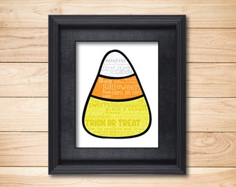 Halloween Candy Corn Trick or Treat / Word Art Typography Subway / Wall Art / Home Decor / Halloween Decorations / October Sweets Candy