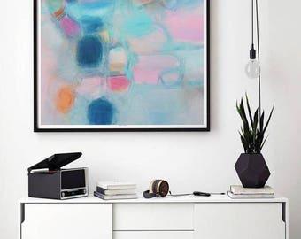 Abstrait art l'art féminin pastel doux rose Turquoise, art Rose moderne, décoration murale chambre d'enfant, décoration de style Boho, 2018 tendances intérieur