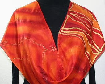 Silk Scarf Orange Red Hand Painted Silk Shawl EASTERN LOVE Size 11x60. Hand Dyed Scarf by Silk Scarves Colorado. Birthday, Christmas Gift