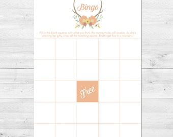 Baby Shower Bingo, Floral Baby Shower Bingo Card, Rustic Baby Shower Bingo, Antler Baby Shower Bingo, Baby Shower Games, Printable