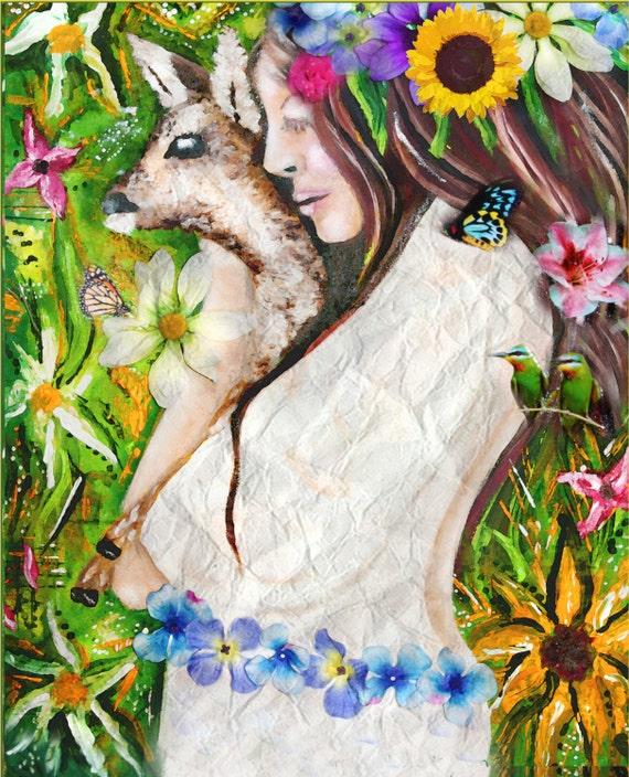 Erde Kind Mädchen mit Reh Malerei Blumenkind Land Art