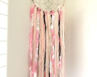 Small Dreamcatcher - Beige and Pink Dream Catcher - Baby Dreamcatcher - Nursery Decor - Baby Shower Gift - Dreamcatcher for Girls - Wall Art