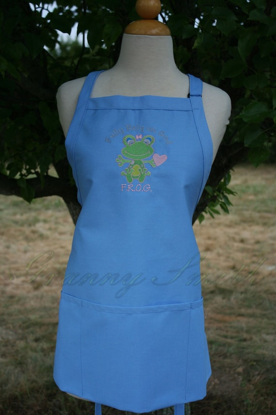 Fully Rely on God FROG Apron! Great gift! Apron made in the United States! Apron pictured is what will be sent!!!