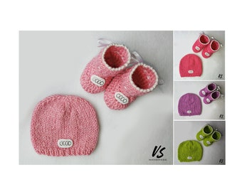 Audi GIFT SET preemie newborn baby girl baby booties baby beanie hat gift bag baby shower gift baby boy boots socks shoes wool winter hat