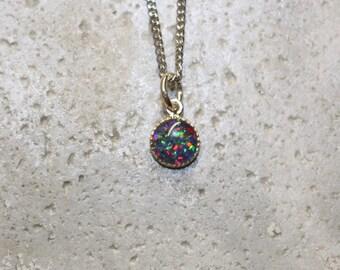 Australian Opal sterling silver 6mm pendant