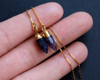 Amethyst Tiny Point Threader Earrings, Amethyst Crystal Threaders