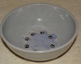 Dog Bowl, Pet Bowl, Pet Water Bowl, Dog Food Bowl, Gray, Lavender, Paw Prints, Stoneware