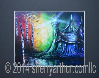 Lighthouse Rainbow Fantasy Art Print of Original Painting Black Matted To 11x14