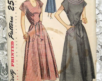 Vintage 50s Summer Wrap Dress, Flared Skirt.  Simplicity 2838 Sewing Pattern. Size 18 Bust 36""