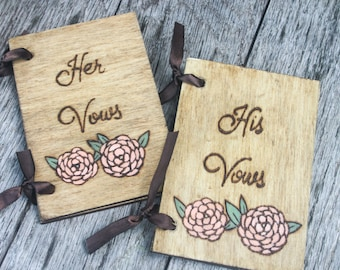 Wedding Vow Books - Ranunculus - Set of 2 - His and Hers Vow Books - Rustic Wedding Vow Books