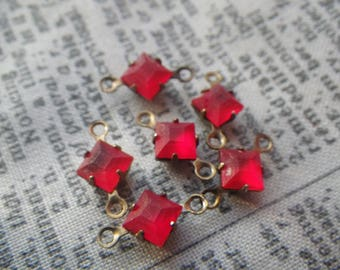 Light Siam Ruby Red Matte Square VIntage Swarovski 4x4mm Glass Brass Ox Connectors Two Loops 6 Pcs