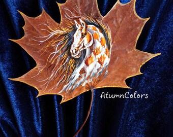 Nature art Original painting on maple leaf painted leaf, painting on leaves Horse , eco-friendly art, original art