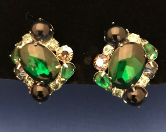Vintage Weiss Clip-On Green and Blue Jelly Glass and Crystal Earrings