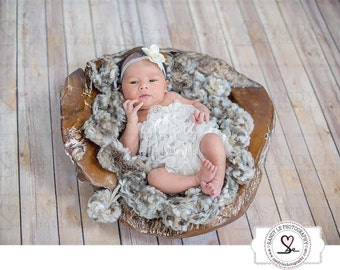 Newborn Digital Backdrop - Brown Wood Bowl with Wood Flooring Background Composite