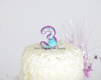 Iridescent Purple Glitter Mermaid Shell Birthday Candle - Birthday Supplies Photo Prop Sparkly Sparkle Cake Topper Keepsake - Standard Size
