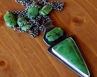 Nephrite Jade necklace - Long boho statement necklace - Ethnic tribal necklace - 24 inch long