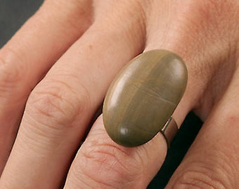 Natural stone ring and non-allergenic stainless steel # 10/16-75
