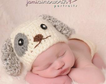 Newborn Puppy Hat, Baby Puppy Hat, Newborn Doggy Hat, Baby Boy Puppy Hat,  Newborn Photo Prop, Baby Puppy Hat, Dog Hat, Cream Gray Puppy