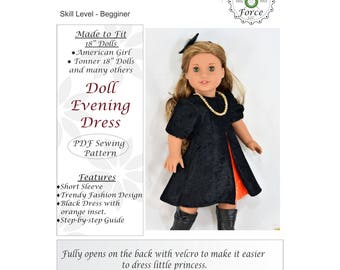 18 inch doll clothes pattern, Doll Evening Dress, for dolls such as American Girl Doll, PDF Sewing Pattern, Doll clothes