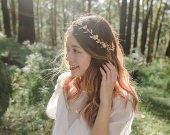 peach gold flower hair wreath // bridal wedding flower crown headband / rustic forest spring woodland headpiece / bridesmaids flower crown