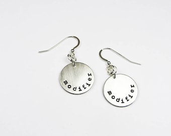Funny Writer Earrings - Dangling Modifiers - Sterling Silver Jewelry For English Teacher, Author, Grammar Geek