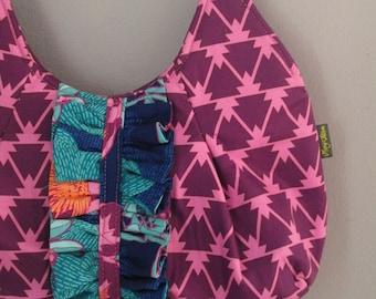 Small Shoulder Bag, Small Purple Handbag, Fabric Shoulder Bag, Pleated Purse, Purse with Ruffle, Small Purple Purse
