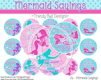 "Mermaid Sayings Bottle Cap Images - INSTANT DOWNLOAD - Mermaids - 1"" Bottle Cap Images 4x6 - 26"