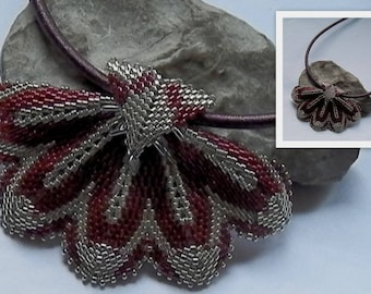 Burgundy and silver woven necklace