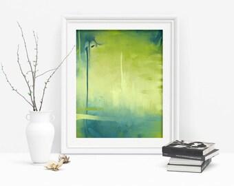 Teal Abstract Printable Yellow Wall Art, Modern Blue Abstract Art Art Download, Yellow Print Art