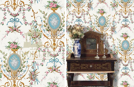 Dollhouse Miniature Wallpaper, Isabella, Scale One Inch