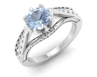 Natural Aquamarine Engagement Ring | Aquamarine With Diamond 14K Gold | Diamond Gold Ring | Aquamarine Side Stone Ring |Certified Aquamarine