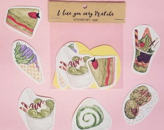 Water Colour Matcha Desserts Sticker Set